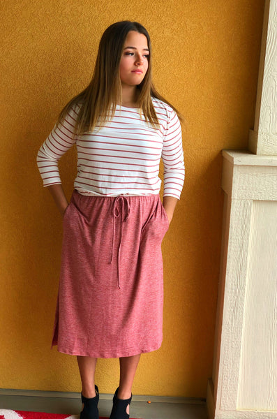 stripe and solid combination mid dress with elastic waist with side pocket - Lou Lou Girls Shop