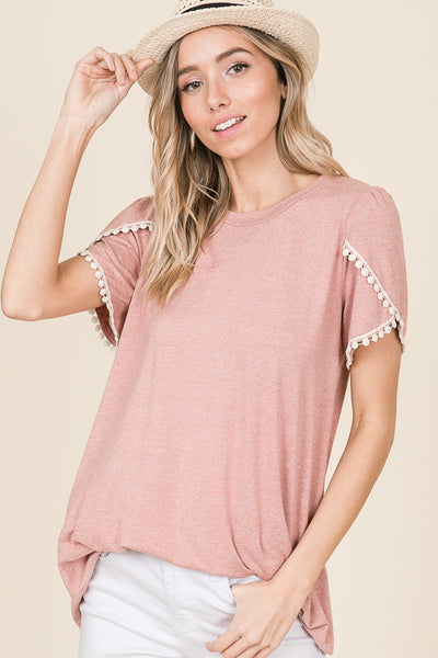 Crisscross lace sleeve detail tunic - Lou Lou Girls Shop