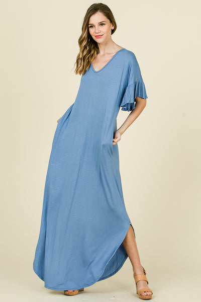 SOLID MAXI TEE DRESS - Lou Lou Girls Shop