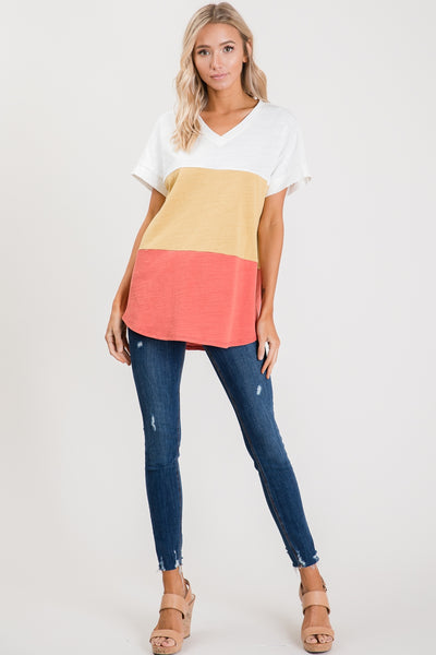 Pastel Color block cotton slub Jersey top