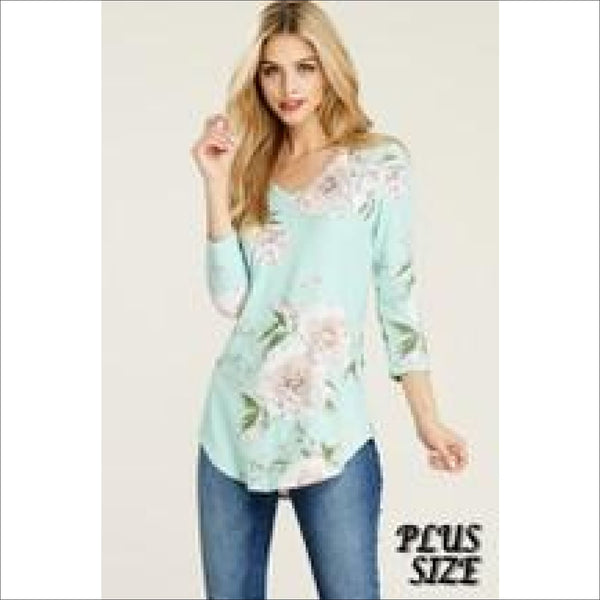 3/4 sleeve bold floral- blush - Lou Lou Girls Shop