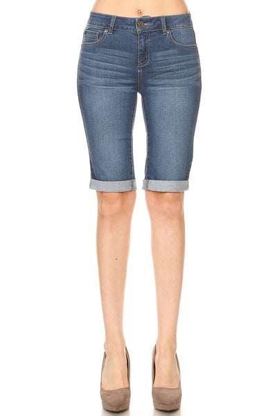 Basic Rolled Bermuda Denim Shorts - Lou Lou Girls Shop
