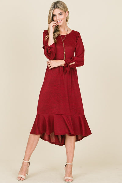 Ribbon sleeve and bottom hem midi dress