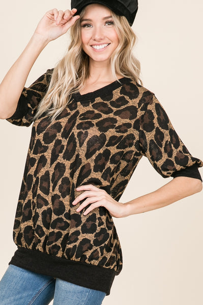 Short sleeve animal print top - Lou Lou Girls Shop
