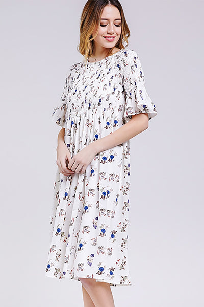 FLORAL SMOCK DETAIL DRESS - Lou Lou Girls Shop