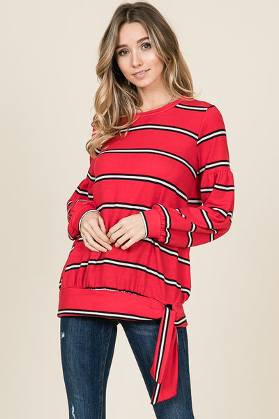 Bubble sleeve striped top - Lou Lou Girls Shop