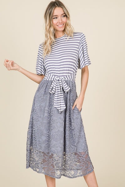 Striped and solid lace combination midi dress with striped waist ribbon - Lou Lou Girls Shop