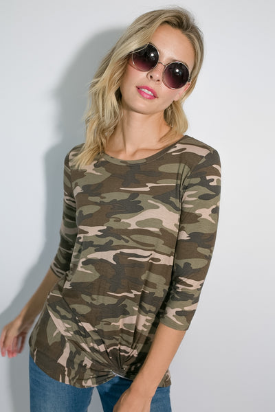 CAMOUFLAGE PRINTED BOTTOM TWIST TOP