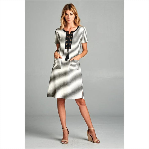 Black and Off White Striped Dress - Lou Lou Girls Shop