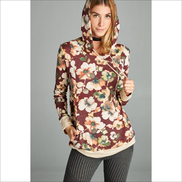Burgundy Floral Hoodie - Lou Lou Girls Shop