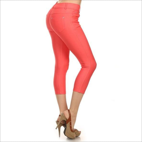 Coral Jean Like Jeggings - Lou Lou Girls Shop