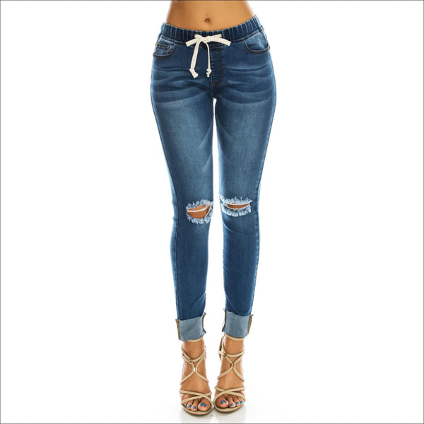 Distressed Denim Jogger - Lou Lou Girls Shop