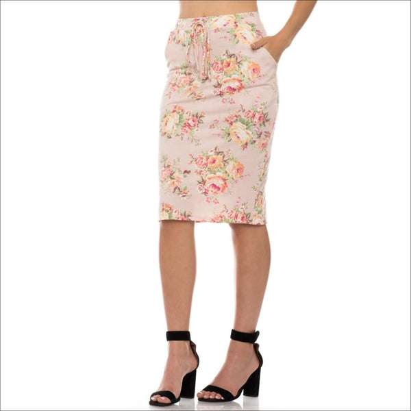 Drawstring Floral Skirt- Blush - Lou Lou Girls Shop