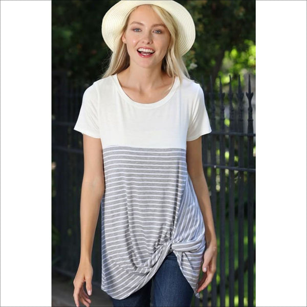 EVERYDAY COLOR BLOCK FRONT KNOT TOP - Lou Lou Girls Shop