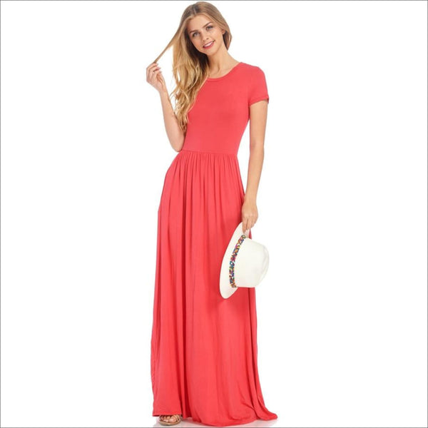Fit and Flared Maxi Dress with Side Pocket-Coral - Lou Lou Girls Shop