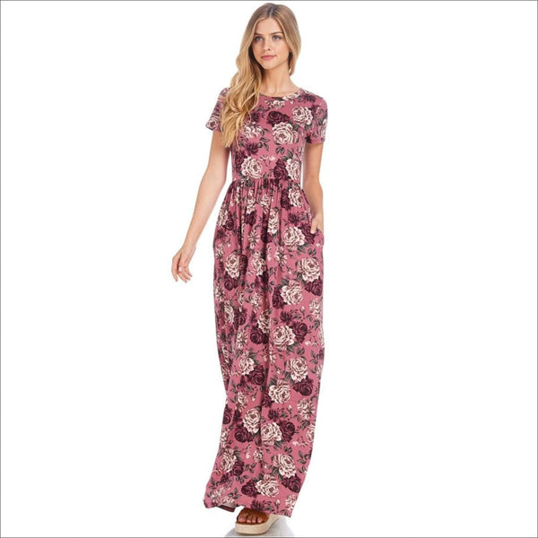 Floral Fit and Flared Pocket Maxi Dress - Lou Lou Girls Shop