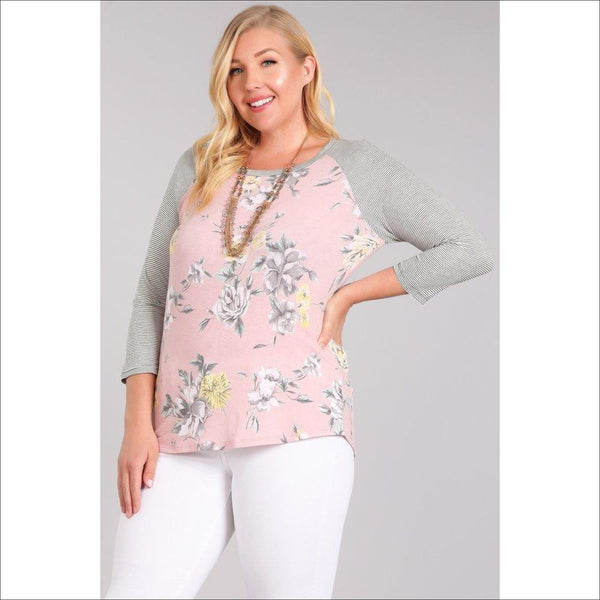Floral printed knit raglan top - Lou Lou Girls Shop