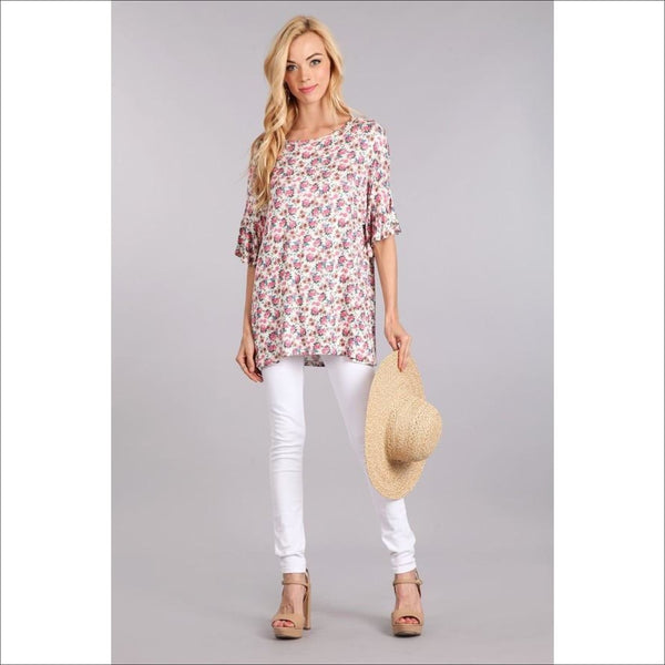 Floral printed Tunic - Lou Lou Girls Shop