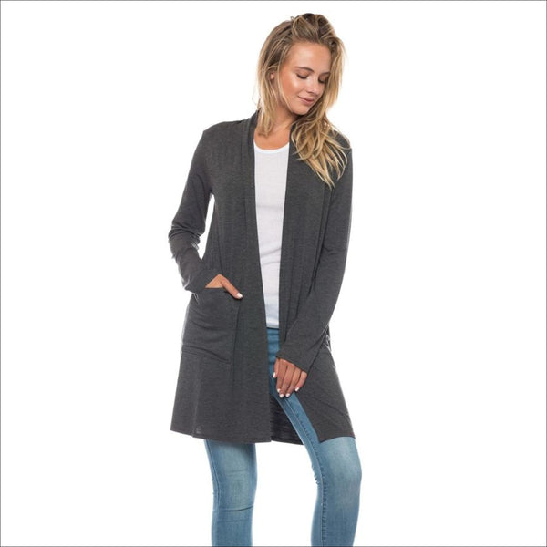 Gray Long Cardigan with Pockets - Lou Lou Girls Shop