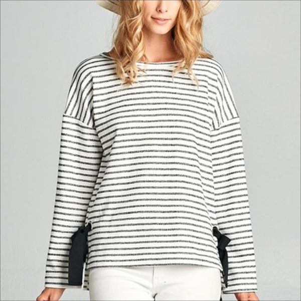 Heavy French Terry Stripe Long Sleeve Top With Big Eyelet & Ribbon - Lou Lou Girls Shop