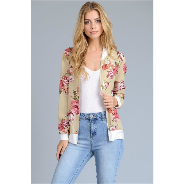 Long Sleeve Floral Jacket - Lou Lou Girls Shop