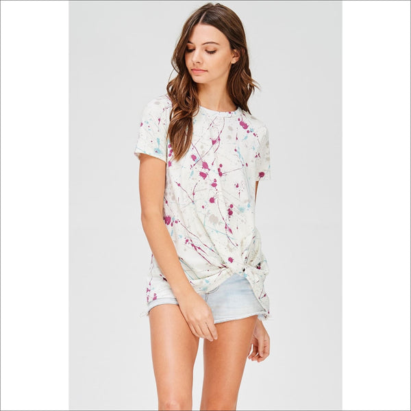 Paint Splatter Twist Knot Top - Lou Lou Girls Shop