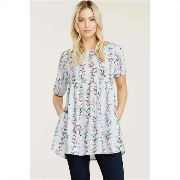 Printed vertical floral baby doll tunic with elbow sleeve and pocket. - Lou Lou Girls Shop