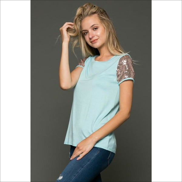 Round Neck Tee w/ Sequin Sleeves - Lou Lou Girls Shop