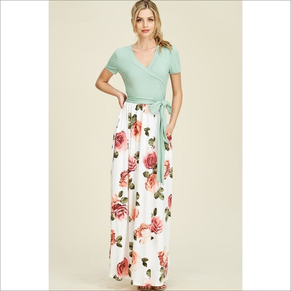 short sleeve high waist wrap front maxi dress- THE COLORS ARE SWITCHED ON THIS- WHITE ON TOP & MINT ON BOTTOM - Lou Lou Girls Shop