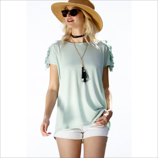 Short Sleeves ruffle detail Top- Mint - Lou Lou Girls Shop