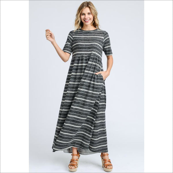 Striped maxi dress with pockets and short sleeves - Lou Lou Girls Shop