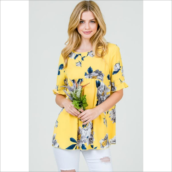 Summer floral ruffle sleeve top - Lou Lou Girls Shop