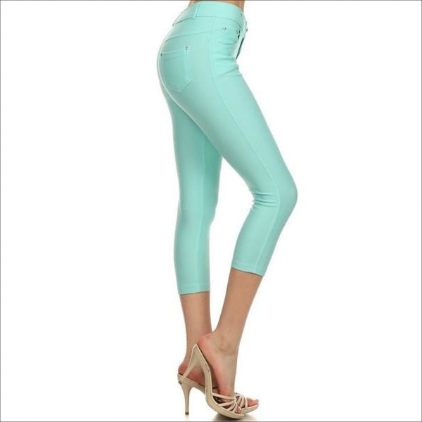 Turquoise- Jean like Capri Jeggings - Lou Lou Girls Shop