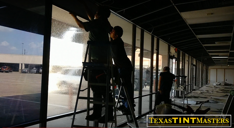 Commercial Window Tinting in Houston. Best commercial tint in Houston. Installing a dark tint for office, or business.