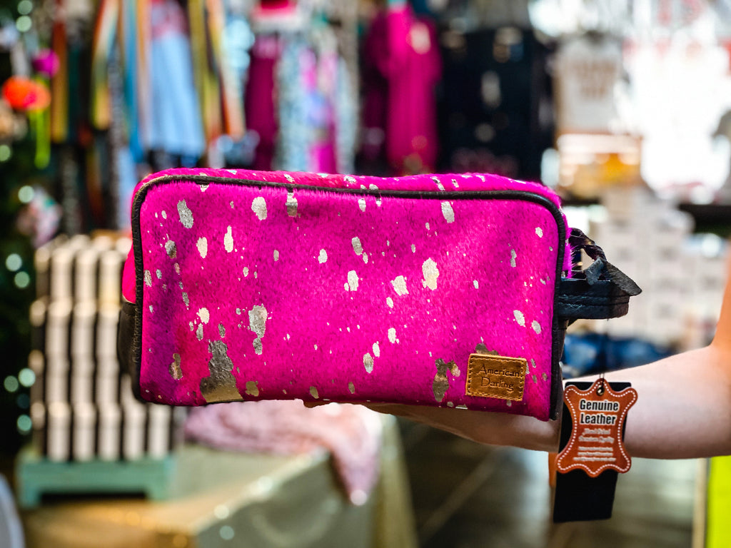 Pink Cowhide Toiletries Bag