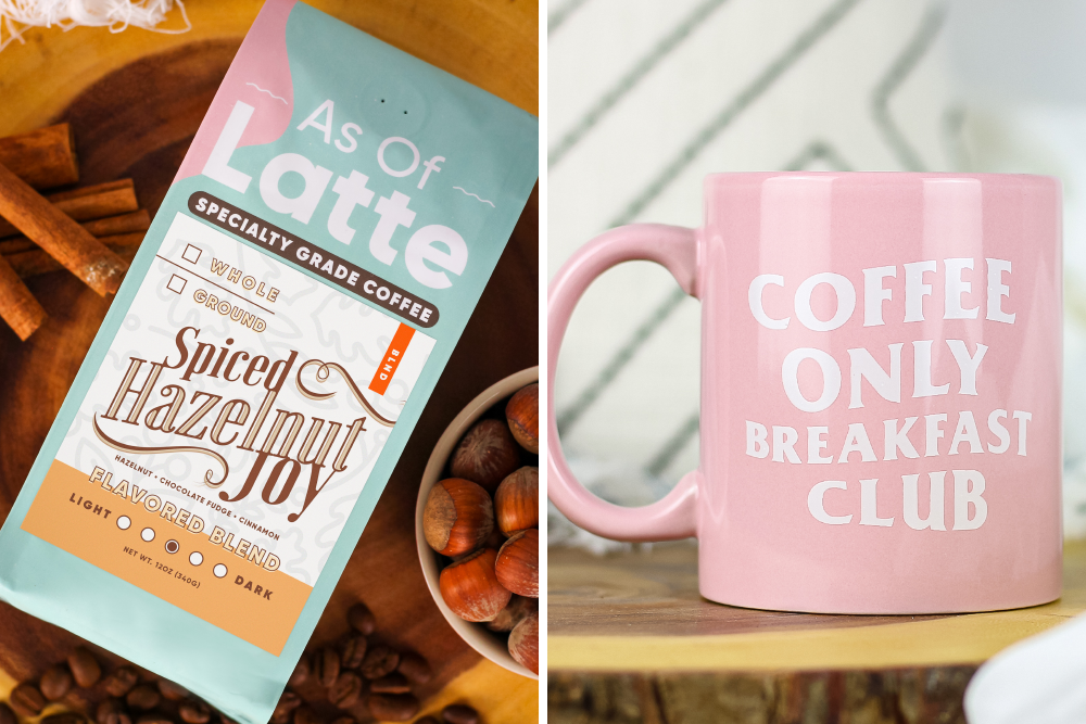 Cinnamon Hazelnut flavored coffee and pink coffee mug for coffee lovers