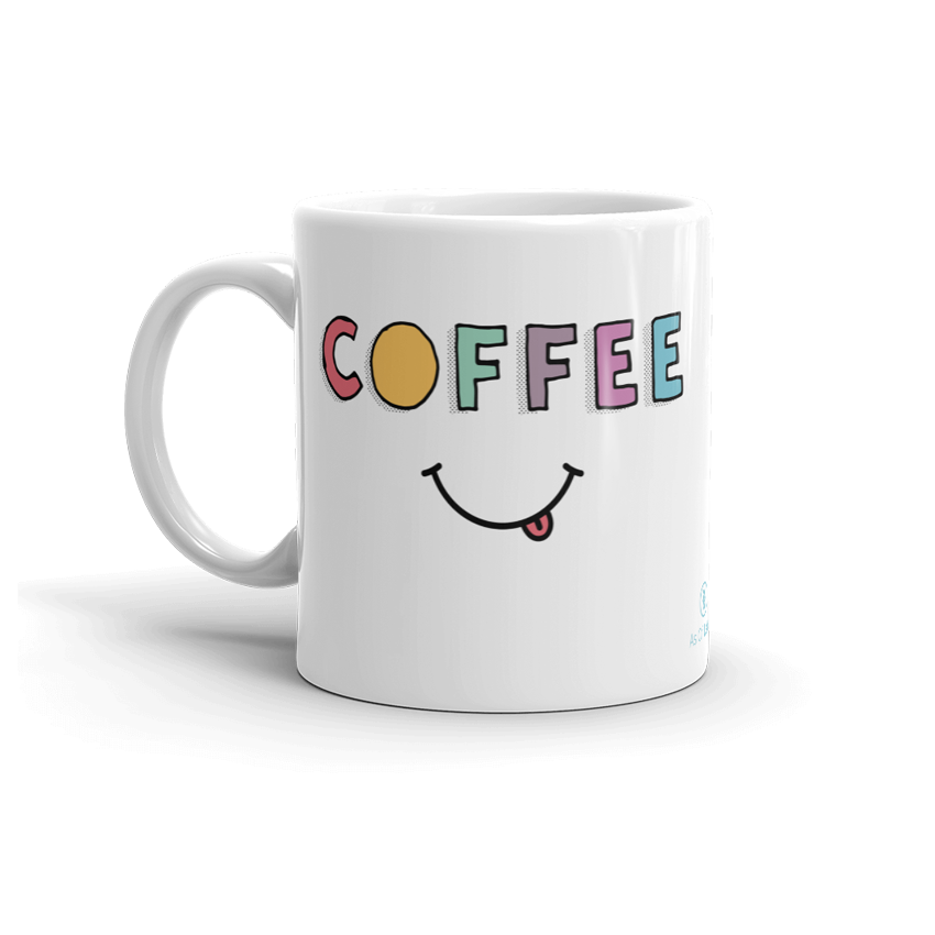 Sturdy white, glossy ceramic 11oz or 15oz mug, with printed graphics. Dishwasher and microwave safe. Funny coffee design. Made in the USA. Coffee meme.