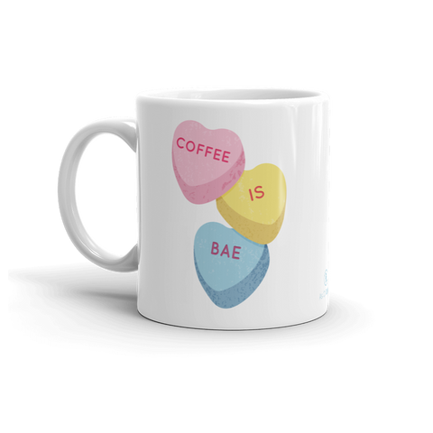 Sturdy white, glossy ceramic 11oz or 15oz mug, with printed graphics. Dishwasher and microwave safe. Funny coffee design. Made in the USA. Cute candy hearts for Valentine's Day.