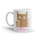 Sturdy white, glossy ceramic 11oz or 15oz mug, with printed graphics. Dishwasher and microwave safe. Funny coffee design. Made in the USA. Perfect for cat lovers.
