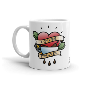 Sturdy white, glossy ceramic 11oz or 15oz mug, with printed graphics. Dishwasher and microwave safe. Funny coffee design. Made in the USA. Classic vintage tattoo design.