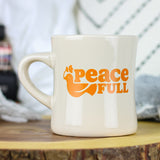 This sturdy 11oz ceramic coffee mug is perfect for morning coffee, afternoon tea, or whatever hot beverage you enjoy! Comes in a glossy cream color & yields a vivid screen printed graphic. Dishwasher & microwave safe. Made in the USA. Ships worldwide. Vintage style diner mug. Retro & classic. Bible verse for peace.