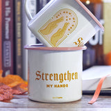 Perfect gift for coffee lovers! Vintage, sturdy enamel camper mug perfect for outdoor use or stay at home parents watching Netflix! Enjoy hot beverages with a durable, lightweight stainless steel enamel mug. Made in the USA! Holds 12oz of coffee. Not dishwasher or microwave safe. Faith-based Christian coffee company.