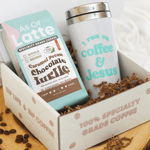 Perfect gift for coffee lovers. 12oz. bag of specialty grade whole bean coffee. 100% naturally flavored. Caramel pecan, chocolate turtle, medium roast blend. Adorable 16oz. insulated tumbler. Every good and perfect gift is from above. I run on Jesus for grace and coffee for the taste! Made in the USA. Ships worldwide.