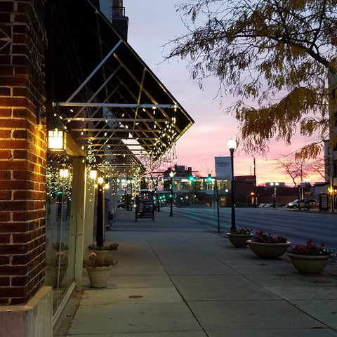 View of the front of The Meeting Place on Market, cafe, coffee house and bakery in downtown Lima, Ohio