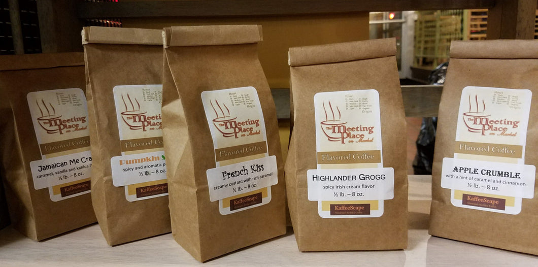 Variety of Five Gourmet Coffees, Stocking Stuffer, Neighbor Gift, Secret Sister Gift - The Meeting Place on Market