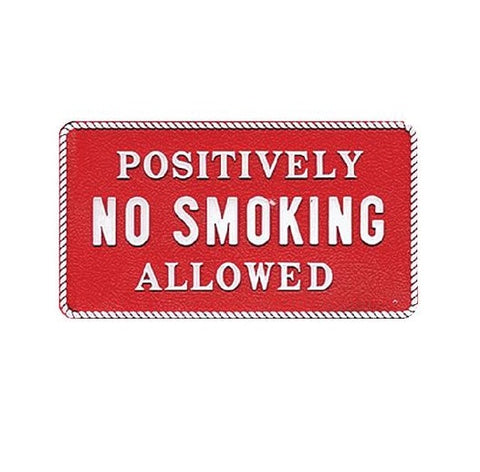 "Bernard Engraving FP032 3"" x 5-1/2"" Red & White Positively No Smoking Allowed Sign"