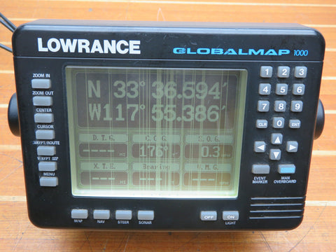 Lowrance Global Map 1000 DGPS Chartplotter Display Head Unit FOR PARTS OR REPAIR - Second Wind Sales