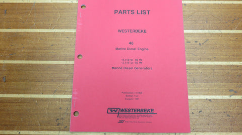 Westerbeke 34908 46 Diesel Engine 15.0 BTD 60Hz 12.0 50Hz Generator Part List