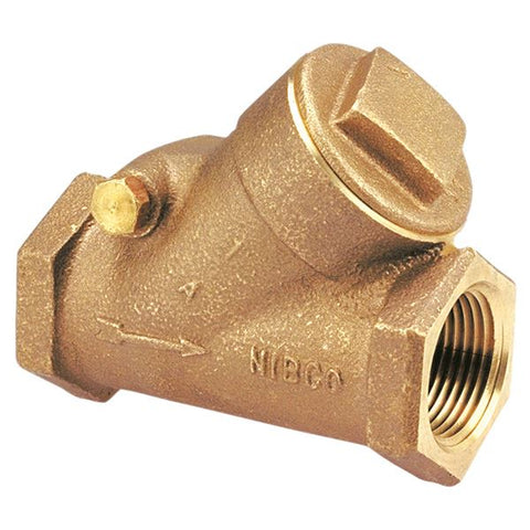 "Nibco T-473-B NL93005 3/8"" Y Pattern Horizontal Swing Bronze Class 300 Threaded Check Valve"