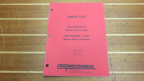 Westerbeke 32416 Genuine OEM 52 Marine Diesel Engine 15 KW Generator Parts List